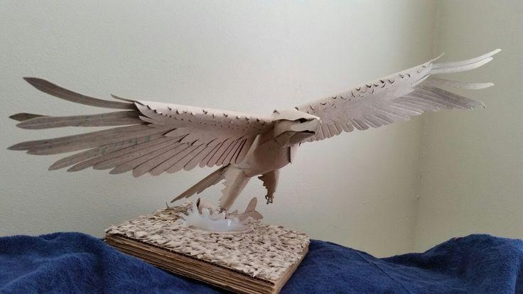 Cardboard maquette for an eagle sculpture by John Dalton