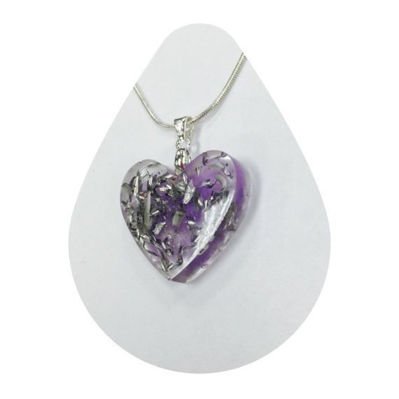 Orgonite  1 inch Heart Purple Pendant Necklace with by kbrooks189