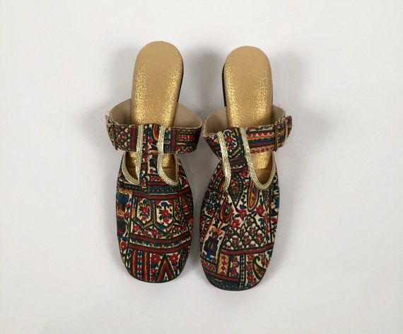 Vintage Gustave 503 Paisley and Gold Slippers