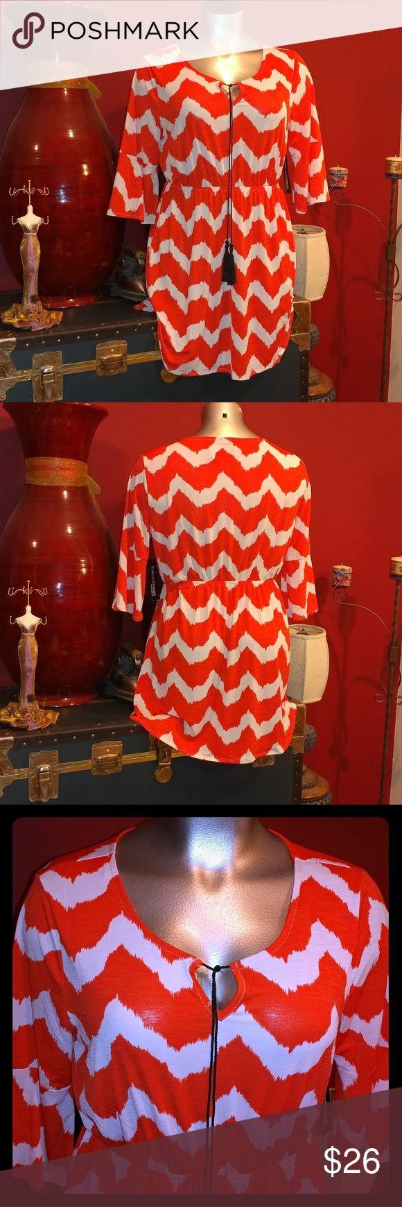 Plus size  chevron dress Plus size  chevron dress in a beautiful orange/ivory tassel  strings love cameron Dresses