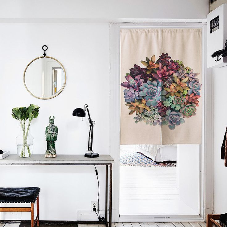 """Japanese Noren Doorway Curtain / Tapestry 33.5"""" Width x 47.2"""" Long with Hardy Succulents"""