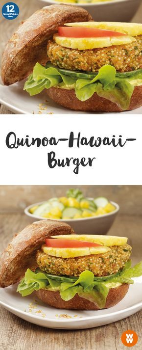Quinoa-Hawaii-Burger | 2 Portionen, 12 SmartPoints/Portion, Weight Watchers, fertig in 40 min.