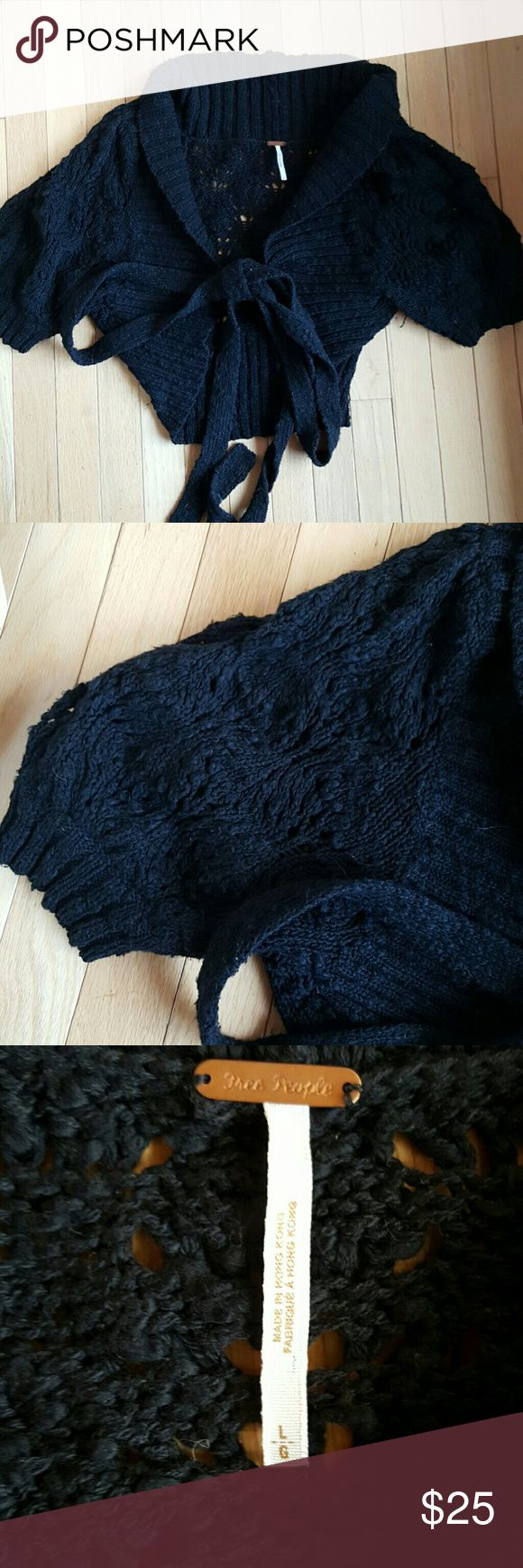 Free people crochet cropped tie sweater. Large Free people crochet cropped tie sweater large. Extra long ties for wrapping or big bow. Puffy sleeves. Shawl collar. Free People Sweaters Shrugs & Ponchos