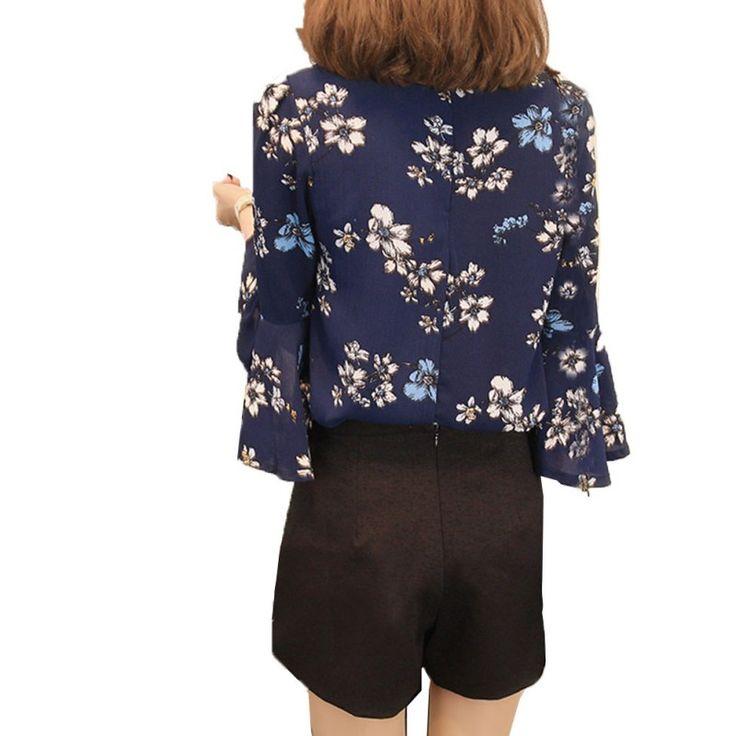 Autumn Women Floral Chiffon Blouse Flare Sleeve Shirts Ladies Office Fashion Tops Plus Size LWE56. Click visit to buy #Blouse #Shirt #BlouseShirt