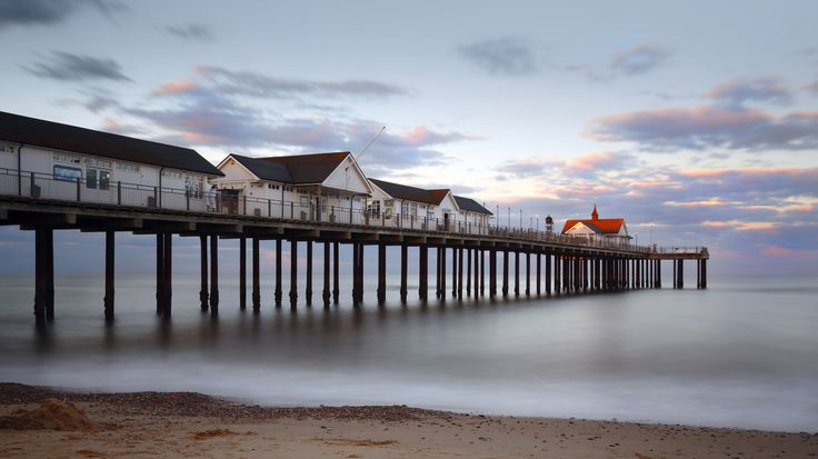This proved to be a very popular shot.  Southwold Pier taken as sunset approached.  A ND filter was used to enable the use of a 30 second exposure, to flatten the sea completely, and obtain plenty of blur.  Not that the sea was that rough that day.  Of the series of shots I liked this one in particular because the sun is striking the roof of the last building on the pier, and giving it a distinctive red glow.