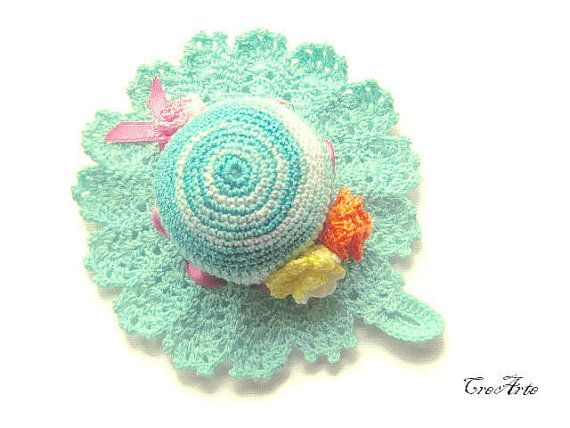 Crochet Pincushion Shades of Aquamarine by CreArtebyPatty on Etsy