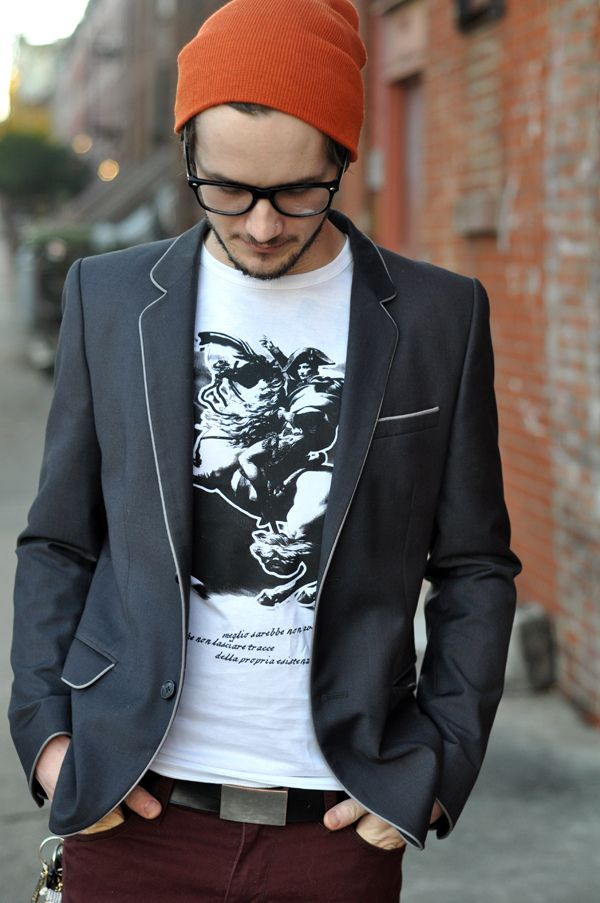 I have a soft spot for the hipster guy look...For a less casual look, lose the hat and style the hair.  So versatile if you break it down!