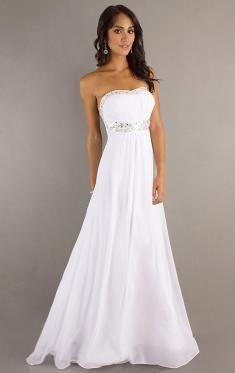 Weiß bodenlangen Abendkleid 2016-QueenieKleid