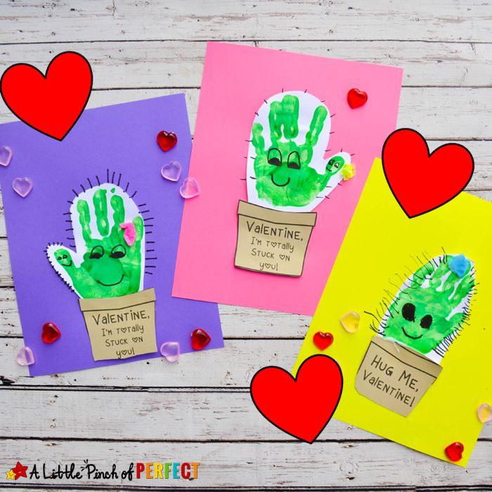 """Kids can make the cutest cactus Valentine's Day craft with our free craft template and their adorable little handprints!The template comes with four different styles and phrases to choose from because you know I like giving you options. 2 of the templates have a funny cactus pun (""""Hug me""""–hehe because it's a cactus and the …"""