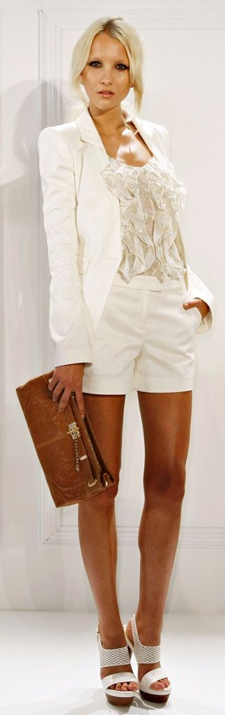 Rachel Zoe- white shorts and blazer. Great casual outfit with a touch of class