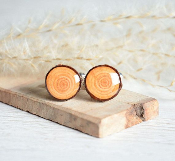 Natural rustic wood cufflinks, wooden cuff links in gift box for him, anniversary gifts for men, natural men's accessories by MyPieceOfWood