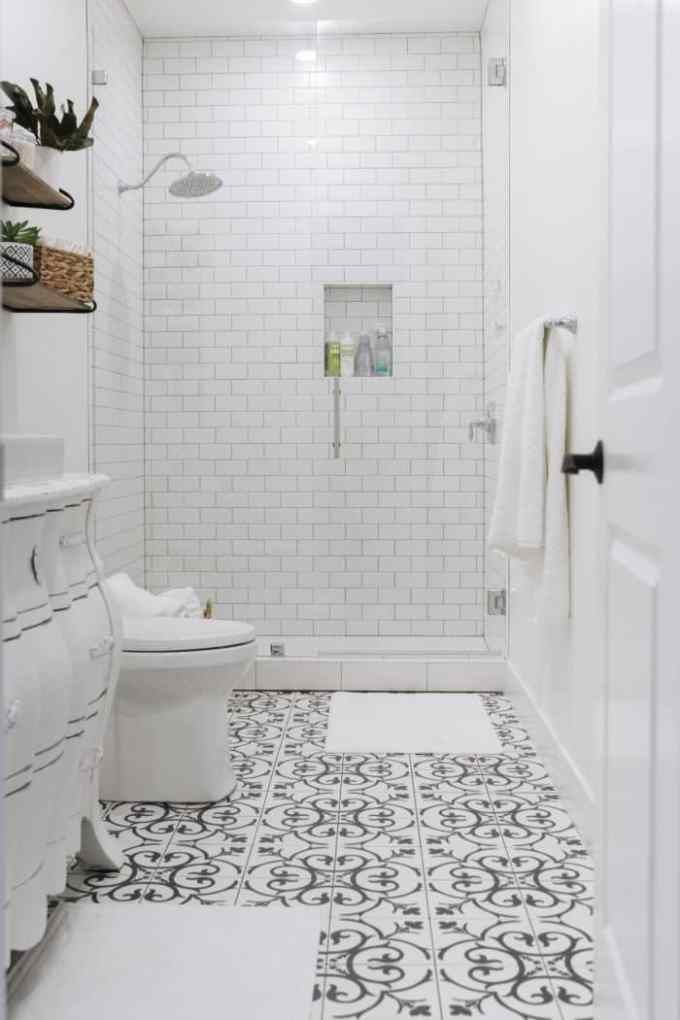 65 Basement Bathroom Ideas 2020 That You Will Love Black And White Tiles Bathroom White Bathroom Tiles Tile Bathroom