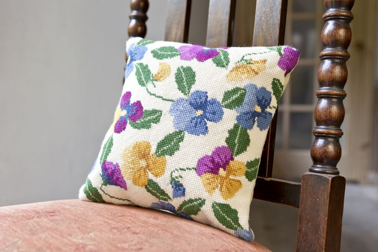 Pansy Garden Herb Pillow by cleopatrasneedle.co.uk