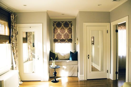 Gray and Plum Bedroom (via Little Green Notebook) - possible dining room color scheme