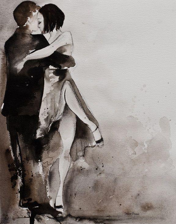 Tango Art Painting - Original - Watercolor and Charcoal -  Untitled Tango 4- 16x20 - Lauren Maurer Artworks on Etsy. $800.00, via Etsy.