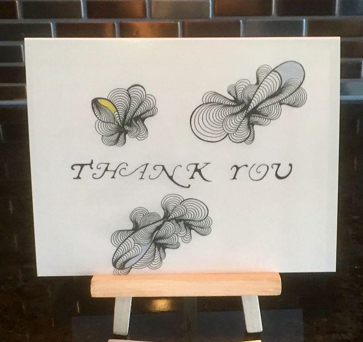 """Thank You"" #BlankGreetingCard #DesignbyMelodyGermain of #Myescapeart.ca  #WhereLinesMeetDesigns"
