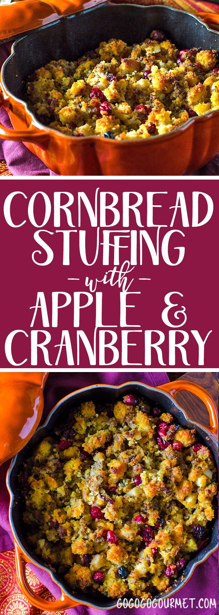 This stuffing is so full of fall flavor! Cornbread dressing with sage, maple sausage, apple and cranberry. #thanksgiving #thanksgivingdinner