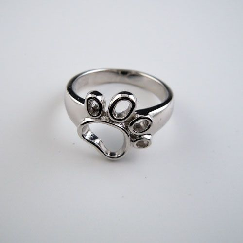 Outline Paw Print Ring In Sterling Silver Animal Jewelry