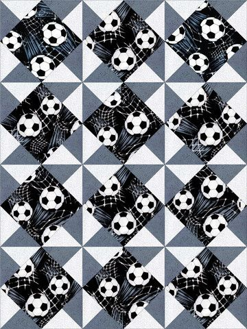 This easy to sew quilt kit is perfect for the soccer fan. Love these fabric with scattered black and white soccer balls and white soccer nets over a black background, a gray tonal and white tone on to