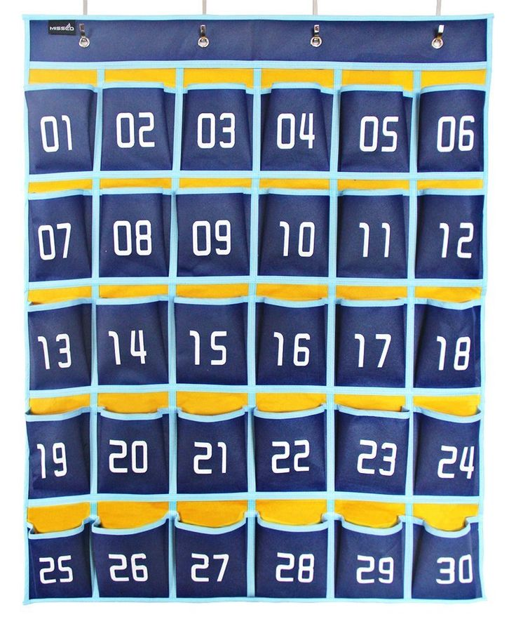 AmazonSmile : Misslo Numbered Classroom Pocket Chart for Cell Phones (30 Pockets, Blue Pockets) : Office Products