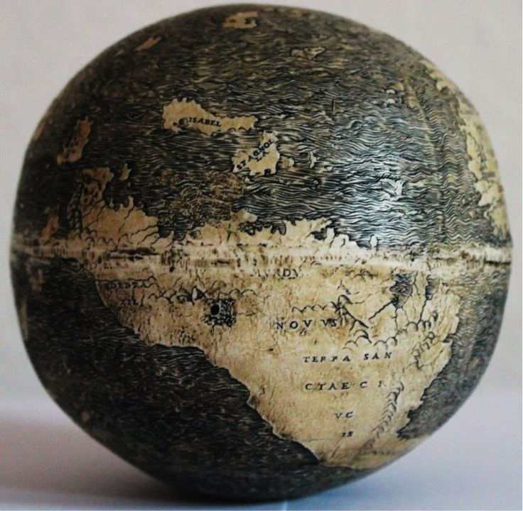 photo of oldest globe depicting the new world, carved out of ostrich egg