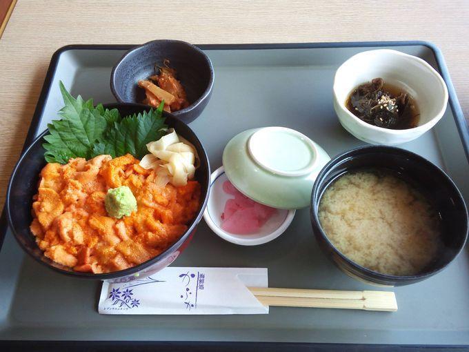 礼文昆布を食べて育った絶品のウニ!ウニ丼は3500円。