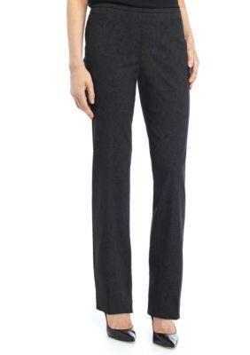 Kim Rogers Women's Petite Size Paisley Printed Millennium Pant - Average - Black/Grey - 16P