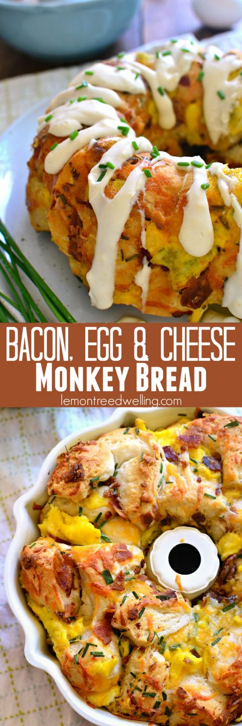 This Bacon, Egg & Cheese Monkey Bread combines all your breakfast favorites in one delicious pull-apart bread! (Breakfast Potluck)