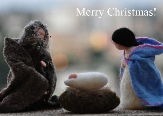 Needle felted Nativity Note card/Waldorf/Holy Land/mother and child, father/needle felt