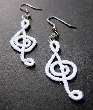 White Tatted treble Clef Earrings - Carolyn