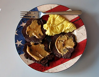 Sugar-Free Chocolate Pancakes for Spoonful of Sugar Free's sugar free challenge. Topped with my favorite peanut butter!