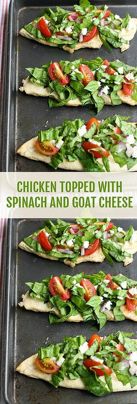 Chicken Breast Topped with Spinach and Goat Cheese