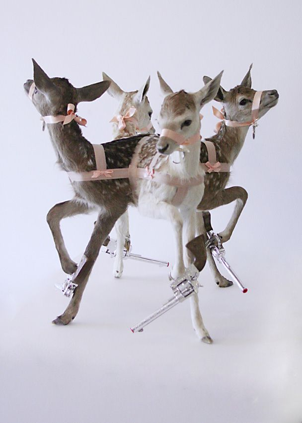 reindeer in the style of Jake and Dinos Chapman