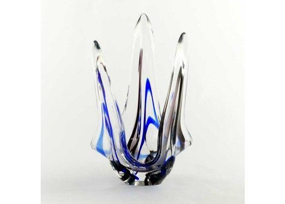 Vintage Glass Bowl by Max Verboeket for Kristalunie Maastricht