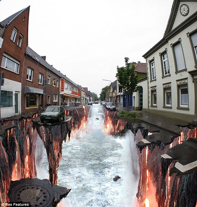 Mueller, who has previously painted a giant waterfall in Canada, said he was inspired by the British 'Pavement Picasso' Julian Beever, whose dramatic but more gentle 3D street images have featured in the Daily Mail