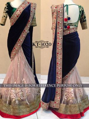Navy Blue Plain Pallu 9000 Velvet Saree With Blouse Bollywood Sarees Online on Shimply.com