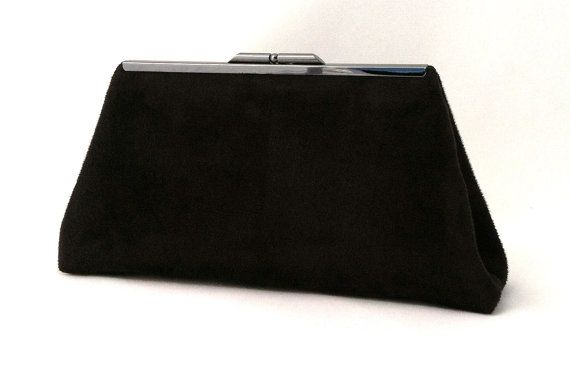 Black Suede Handbag  Black Suede Clutch  Small Black by EVClutches