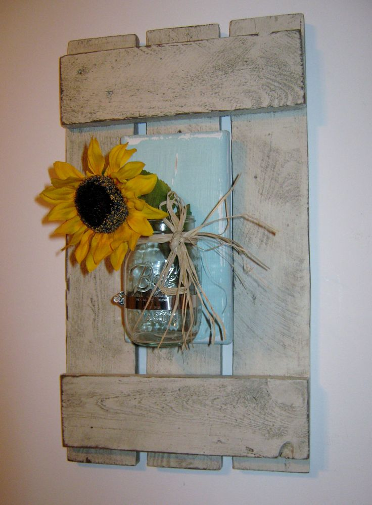 Framed Mason Jar Wall Sconce Vase Recycled Wood Pallet. $52.99, via Etsy.