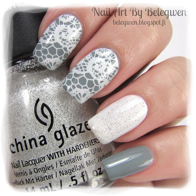 Nail Art by Belegwen: China Glazen Intelligence, Integrity & Courage and The Outer Edge (on top of the white polish). Stamping plate is QA94.