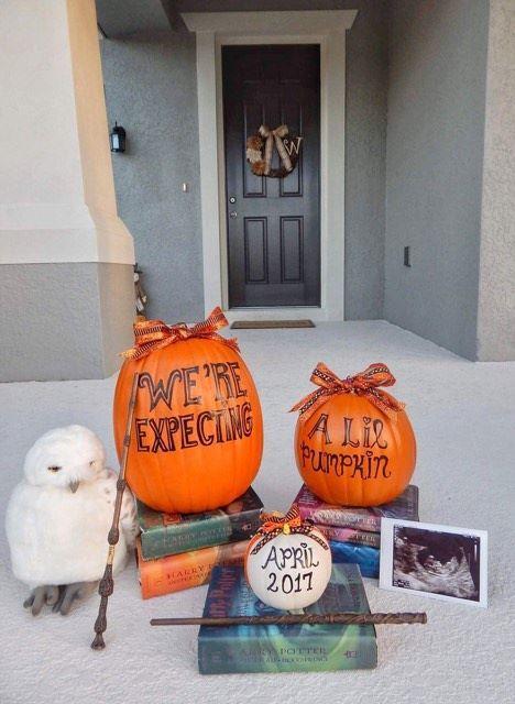 Harry Potter Pregnancy Announcement - Halloween Baby announcement - pumpkin pregnancy announcement - fall pregnancy announcement