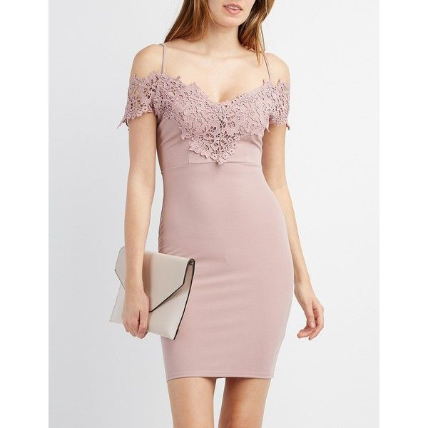 Charlotte Russe Crochet-Trim Cold Shoulder Bodycon Dress ($25) ❤ liked on Polyvore featuring dresses, burnished lil, pink bodycon dress, cap sleeve dress, pink cocktail dress, embroidery dresses and cold shoulder cocktail dress