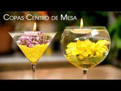 """Como hacer Centro de Mesa """"Copas con flores sumergidas y velas flotantes"""""""