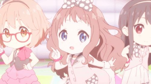 ☆**this is an animated gif~ please click to see the animation!**☆ from 'Kyoukai no Kanata Idol Saiban!' ♥ kawaii anime chibis, cute girls as chibis in pastel colors, moe wink & heart pose, kawaii chibi gif