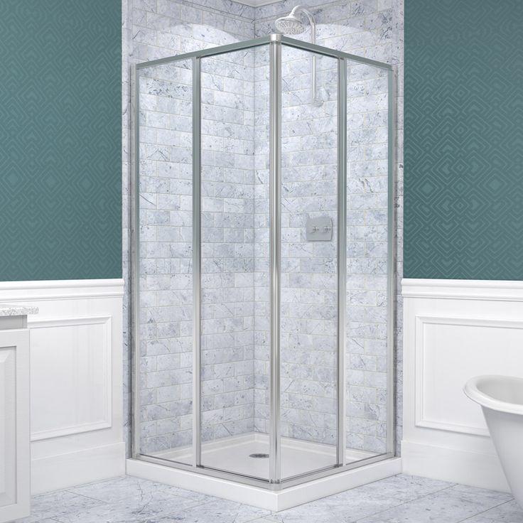 DreamLine Cornerview 34.5-in to 34.5-in W x 72-in H Chrome Sliding Shower Door