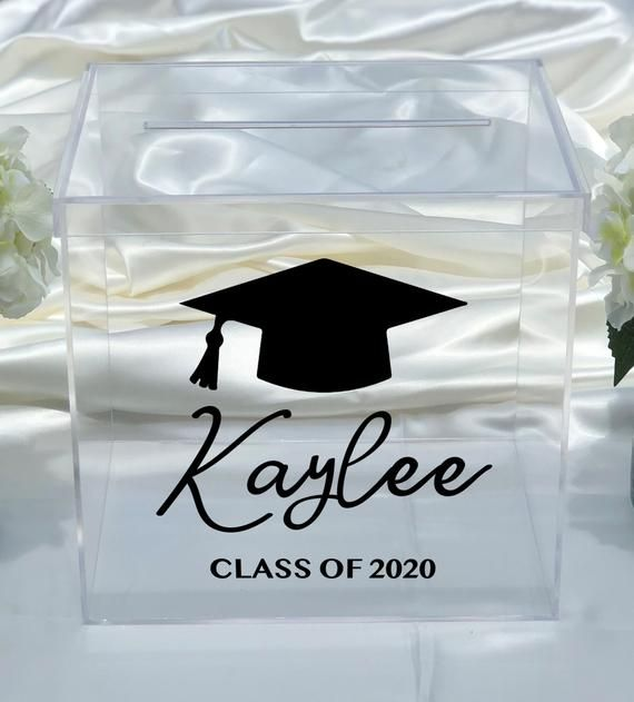 Beautiful Clear Acrylic Card Box Would Look Great At Your Loved Ones Graduation Personalized Wi In 2021 Graduation Card Boxes Graduation Card Box Diy Graduation Cards