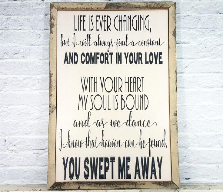 Song Lyric Art Wall Wood Sign Wedding