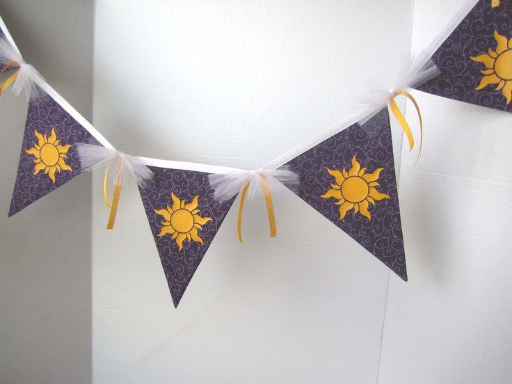 7 Flag Tangled Sun Banner -   Rapunzel Party Decorations / Tangled Bedroom Decor. $25.00, via Etsy.