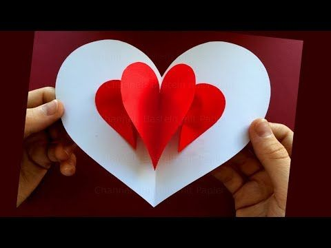 Pop Up Card: Heart ❤ Easy Pop Up Card Tutorial ❤ Valentine's Day Heart P…