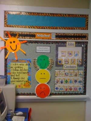 """I suppose you could call this the """"information"""" wall. Has our behavior chart (the smiley faces) which was changed before school even started because we added blue. Has our rules, job chart, and center chart. All of which is changing."""