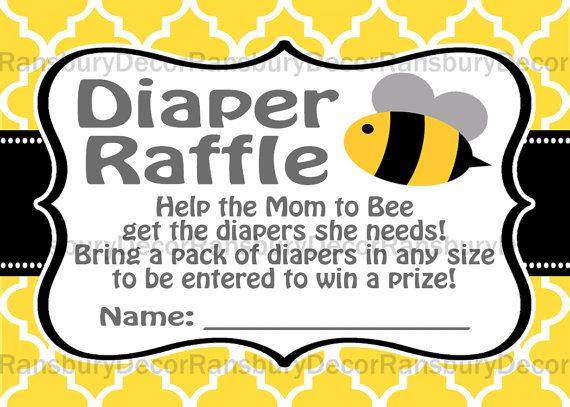 Mom to Bee Diaper Raffle Card - Bee Theme - Baby Sprinkle Party - Printable Decor - Digital Download - Mommy to Bee - by RansburyDecor